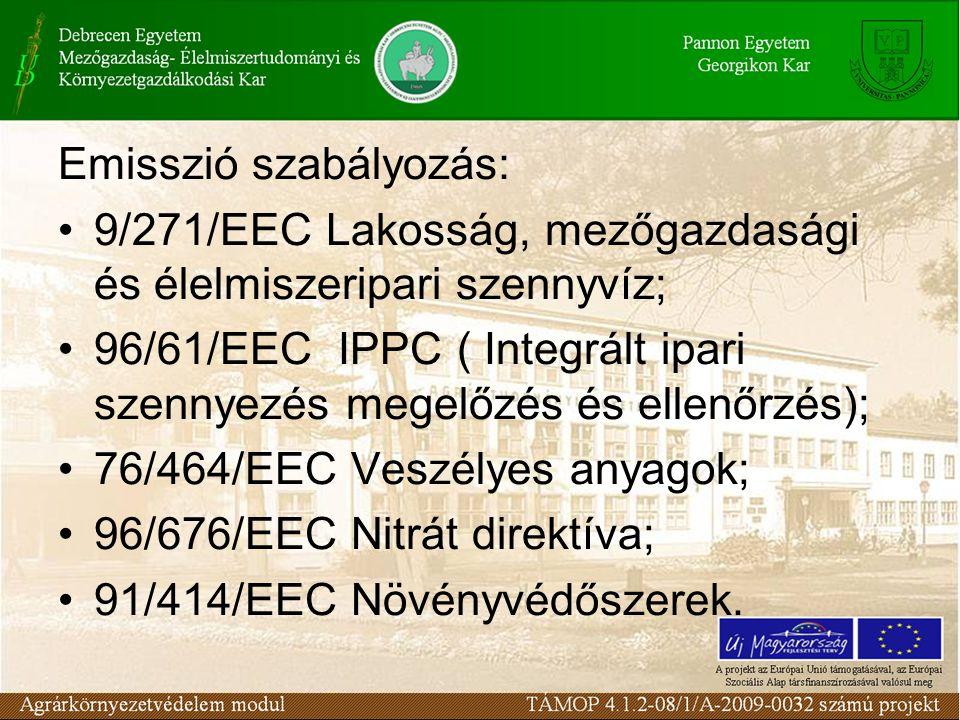 Immisszió szabályozás: 75/440 Felszíni vizek; 80/68/EEC Talajvíz; 76/464/EEC Veszélyes anyagok; 80/778/EEC Ivóvíz; 200/6/EEC Vízügyi keretdirektíva.