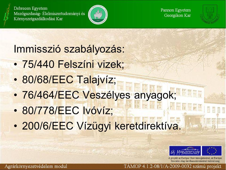 Egyéb szabályozások: 86/278/EEC szennyvíziszap; 82/501/EEC Seveso direktíva; 85/37/EEC Környezeti hatásvizsgálat.