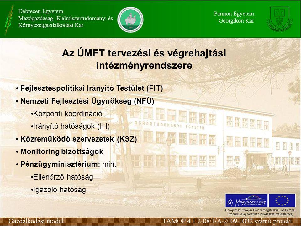 Az ÚMFT tervezési és végrehajtási intézményrendszere Fejlesztéspolitikai Irányító Testület (FIT) Nemzeti Fejlesztési Ügynökség (NFÜ) Központi koordináció Irányító hatóságok (IH) Közreműködő szervezetek (KSZ) Monitoring bizottságok Pénzügyminisztérium: mint Ellenőrző hatóság Igazoló hatóság
