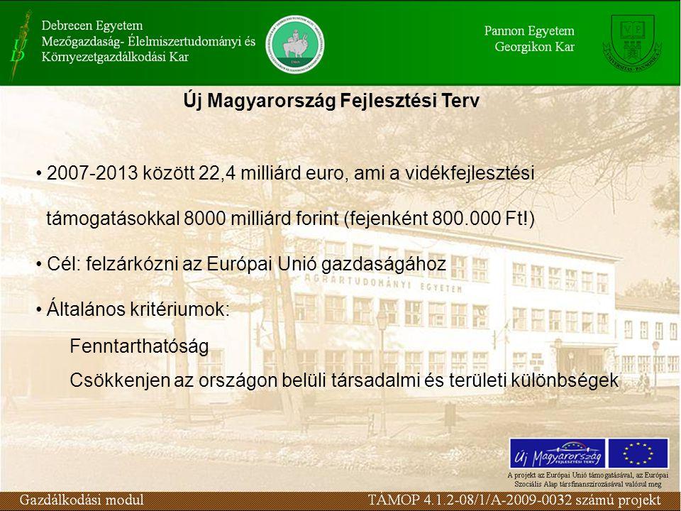 Új Magyarország Fejlesztési Terv 2007-2013 között 22,4 milliárd euro, ami a vidékfejlesztési támogatásokkal 8000 milliárd forint (fejenként 800.000 Ft!) Cél: felzárkózni az Európai Unió gazdaságához Általános kritériumok: Fenntarthatóság Csökkenjen az országon belüli társadalmi és területi különbségek