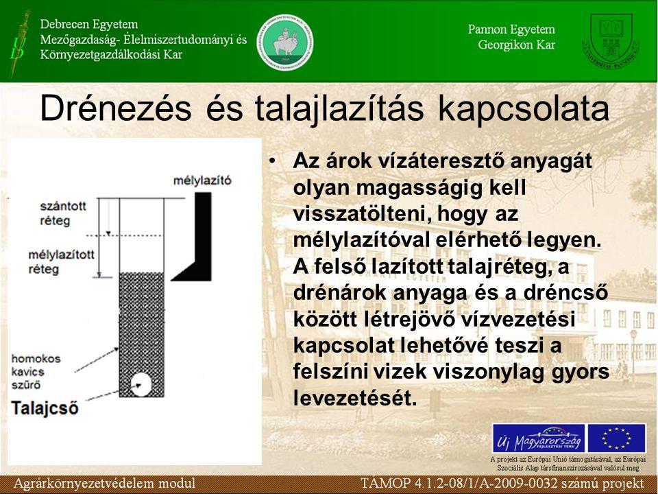 Drénezés és talajlazítás kapcsolata Az árok vízáteresztő anyagát olyan magasságig kell visszatölteni, hogy az mélylazítóval elérhető legyen.