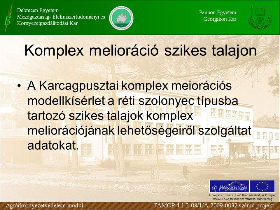 Komplex melioráció szikes talajon A Karcagpusztai komplex meiorációs modellkísérlet a réti szolonyec típusba tartozó szikes talajok komplex meliorációjának lehetőségeiről szolgáltat adatokat.