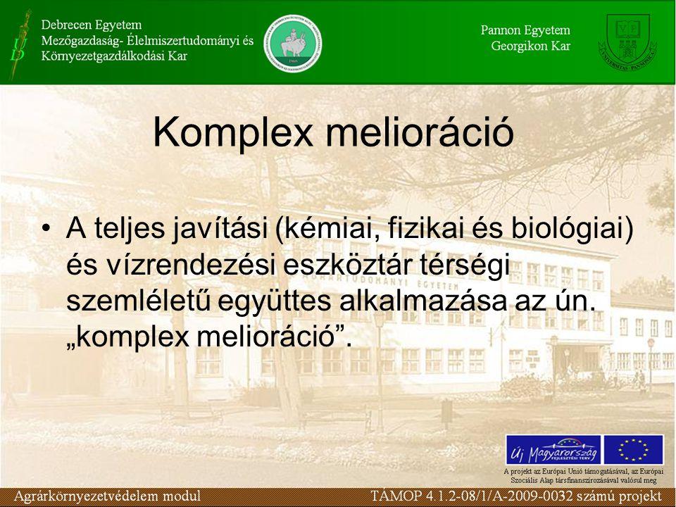 Komplex melioráció A teljes javítási (kémiai, fizikai és biológiai) és vízrendezési eszköztár térségi szemléletű együttes alkalmazása az ún.