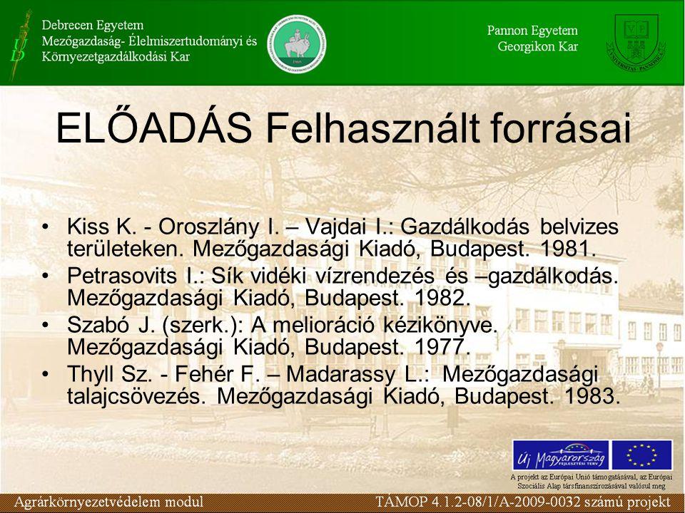 ELŐADÁS Felhasznált forrásai Kiss K.- Oroszlány I.