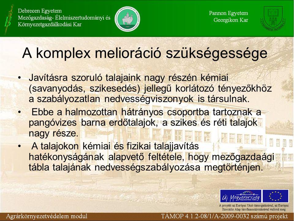 A komplex melioráció szükségessége Javításra szoruló talajaink nagy részén kémiai (savanyodás, szikesedés) jellegű korlátozó tényezőkhöz a szabályozatlan nedvességviszonyok is társulnak.