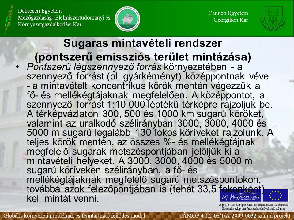 Pontszerű légszennyező forrás környezetében - a szennyező forrást (pl.