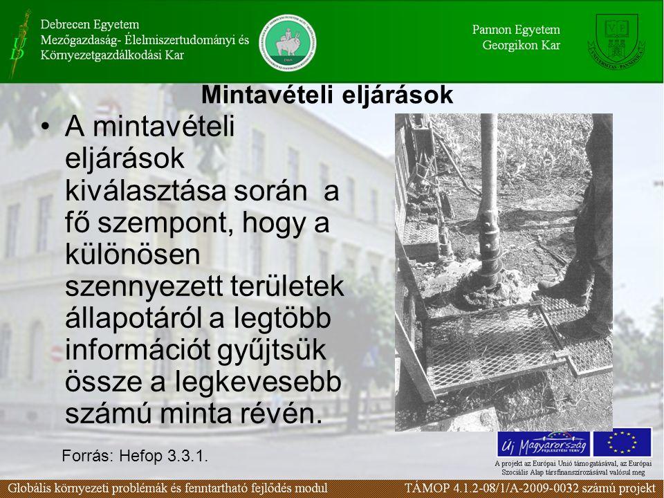 MegközelítésElőnyökHátrányok Műszaki szemléletű  geofizikai vizsgálatok  piezométerek és kutak telepítése  129 szennyező anyagra analitikai meghatározás  további mintavételezés és analízis bizonyos szennyező anyagokra  geológiai viszonyok meghatározása mélyített fúrásokkal és mintavételezéssel  hidrológiai viszonyok felmérése kutak segítségével és geohidraulikai tesztekkel  bizonyos talajtani vizsgálatok (szemcseméret- eloszlás, agyag-tartalom)  a probléma körülírása teljesebb  megbízhatóbb módon optimalizálhatók a lehetséges remediációra irányuló tevékenységek  a remediáció hatékonyságának becslése megbízhatóbb  a tisztítási költségek csökkennek; becslések pontosabbak  megbízhatóság megalapozottabb, biztosabb  a karakterizálási költségek magasabbak  a probléma részletes leírása nehézkes  a remediációra irányuló tevékenység optimalizálhatósága nem valószínű  a terepi mérések további problémákat eredményezhetnek  speciális szaktudás nagyobb mértékben szükséges Szennyezett területek karakterizálási módszereinek összehasonlítása (Boulding, 1995 - Keely, 1987)