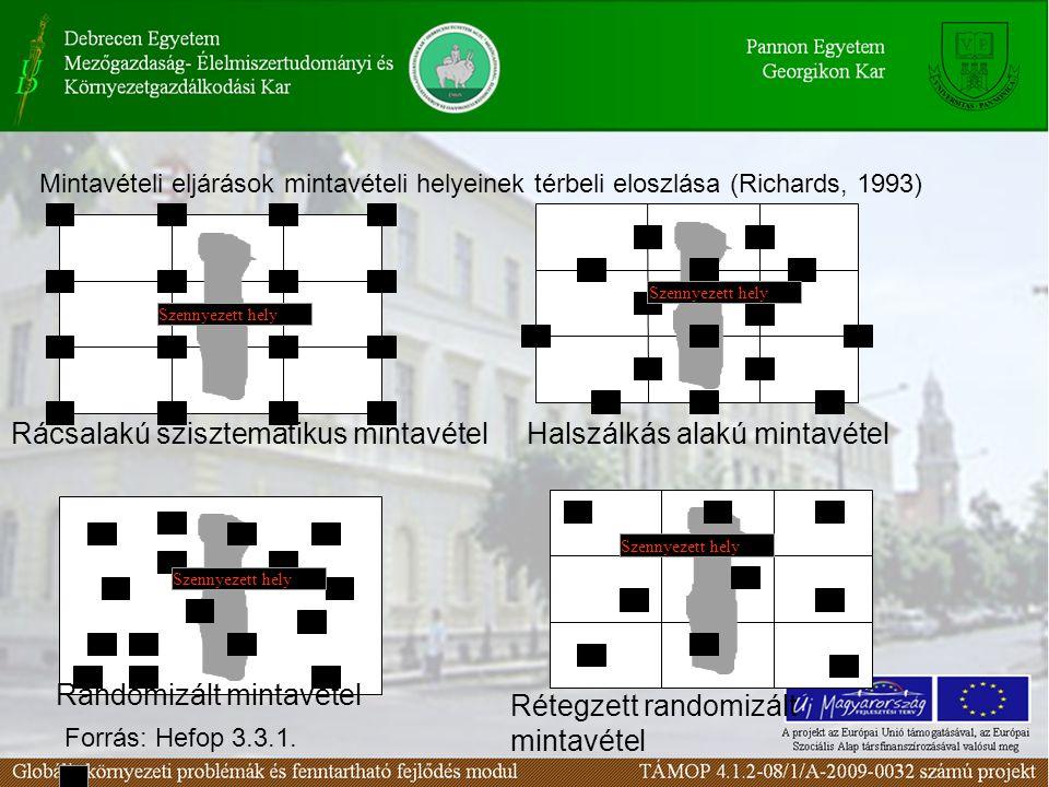 Szennyezett hely Rácsalakú szisztematikus mintavételHalszálkás alakú mintavétel Randomizált mintavétel Rétegzett randomizált mintavétel Mintavételi eljárások mintavételi helyeinek térbeli eloszlása (Richards, 1993) Forrás: Hefop 3.3.1.