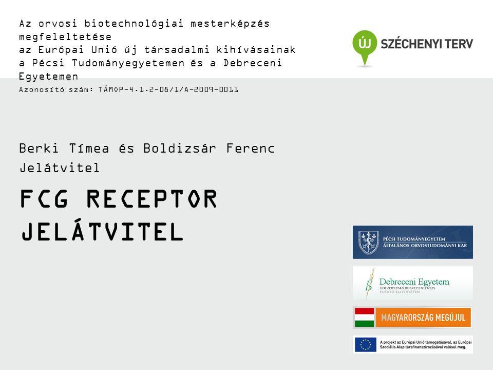 FCG RECEPTOR JELÁTVITEL Az orvosi biotechnológiai mesterképzés megfeleltetése az Európai Unió új társadalmi kihívásainak a Pécsi Tudományegyetemen és a Debreceni Egyetemen Azonosító szám: TÁMOP-4.1.2-08/1/A-2009-0011 Berki Tímea és Boldizsár Ferenc Jelátvitel