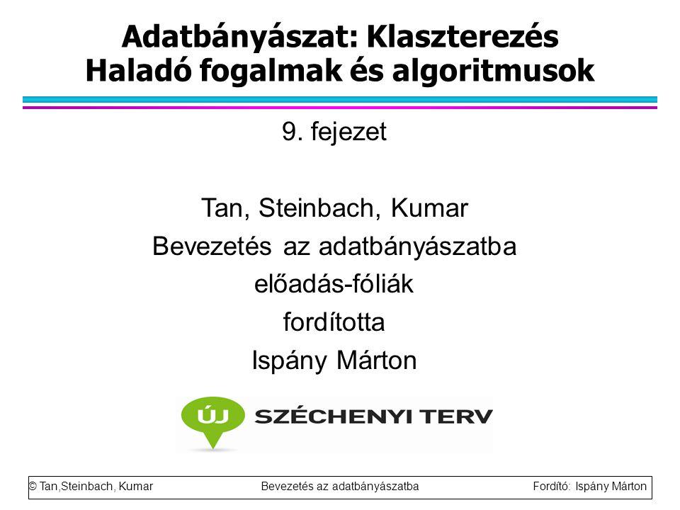 Adatbányászat: Klaszterezés Haladó fogalmak és algoritmusok 9. fejezet Tan, Steinbach, Kumar Bevezetés az adatbányászatba előadás-fóliák fordította Is