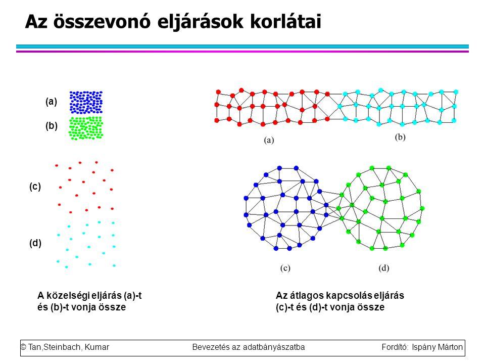 © Tan,Steinbach, Kumar Bevezetés az adatbányászatba Fordító: Ispány Márton Az összevonó eljárások korlátai A közelségi eljárás (a)-t és (b)-t vonja ös
