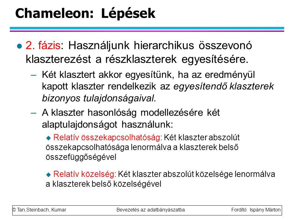 © Tan,Steinbach, Kumar Bevezetés az adatbányászatba Fordító: Ispány Márton Chameleon: Lépések l 2. fázis: Használjunk hierarchikus összevonó klasztere