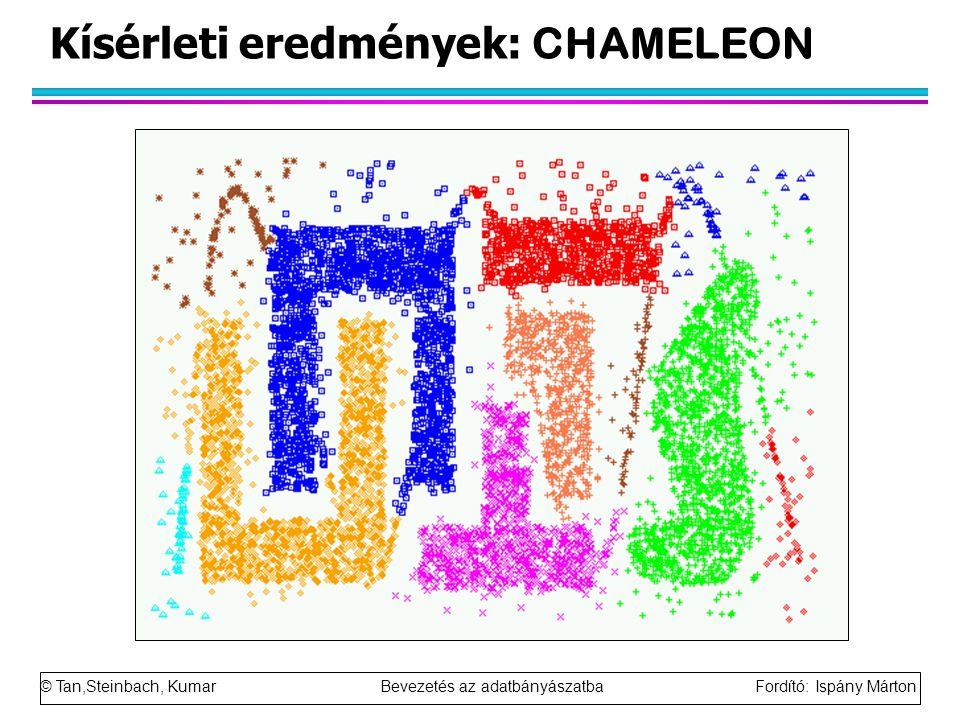 © Tan,Steinbach, Kumar Bevezetés az adatbányászatba Fordító: Ispány Márton Kísérleti eredmények: CHAMELEON