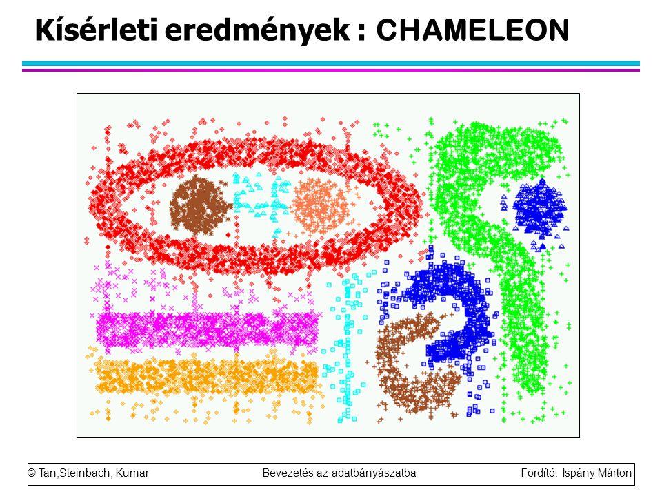 © Tan,Steinbach, Kumar Bevezetés az adatbányászatba Fordító: Ispány Márton Kísérleti eredmények : CHAMELEON