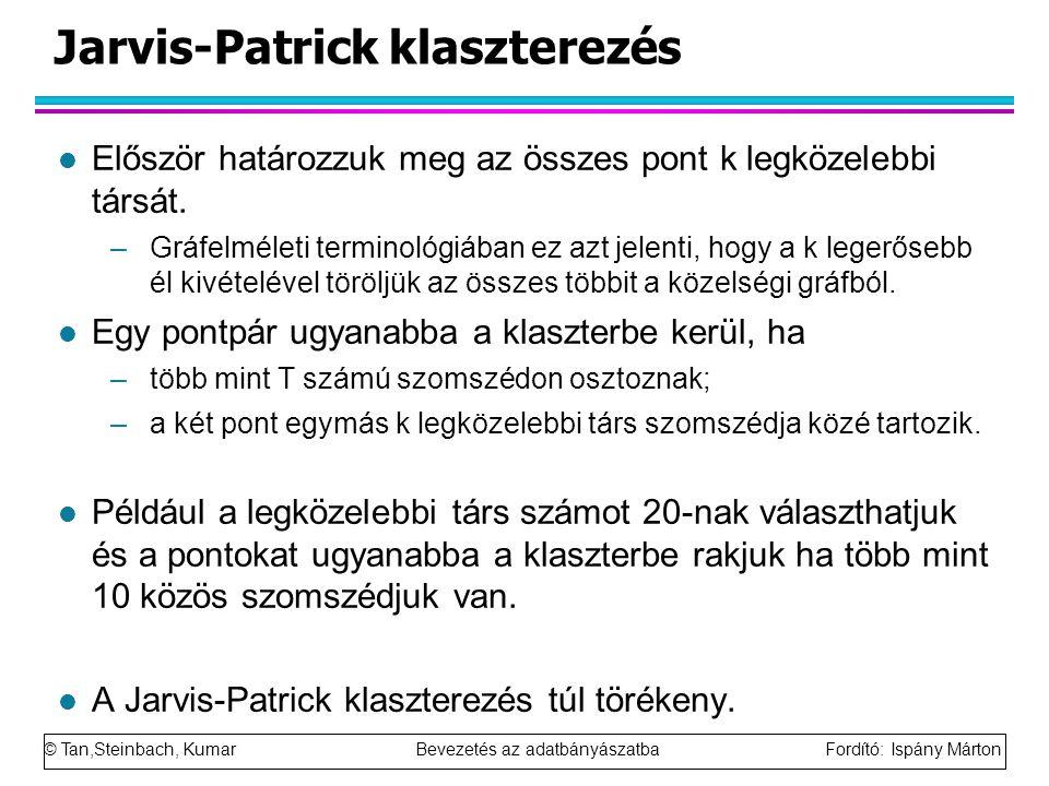 © Tan,Steinbach, Kumar Bevezetés az adatbányászatba Fordító: Ispány Márton Jarvis-Patrick klaszterezés l Először határozzuk meg az összes pont k legkö