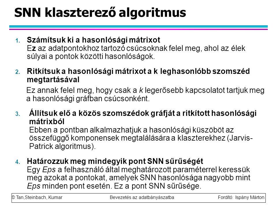 © Tan,Steinbach, Kumar Bevezetés az adatbányászatba Fordító: Ispány Márton SNN klaszterező algoritmus 1. Számítsuk ki a hasonlósági mátrixot Ez az ada