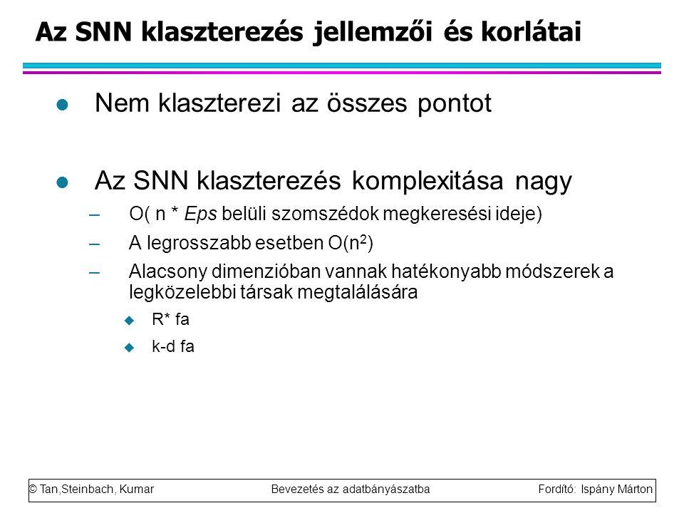 © Tan,Steinbach, Kumar Bevezetés az adatbányászatba Fordító: Ispány Márton Az SNN klaszterezés jellemzői és korlátai l Nem klaszterezi az összes ponto