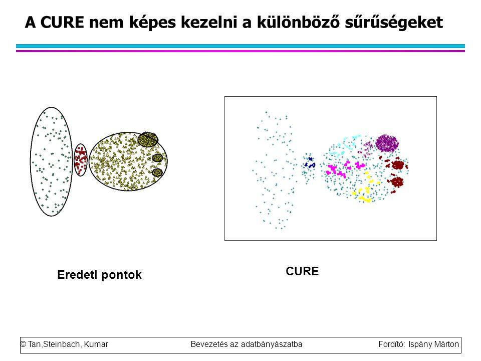 © Tan,Steinbach, Kumar Bevezetés az adatbányászatba Fordító: Ispány Márton A CURE nem képes kezelni a különböző sűrűségeket Eredeti pontok CURE