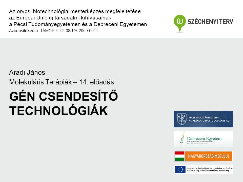 GÉN CSENDESÍTŐ TECHNOLÓGIÁK Az orvosi biotechnológiai mesterképzés megfeleltetése az Európai Unió új társadalmi kihívásainak a Pécsi Tudományegyetemen