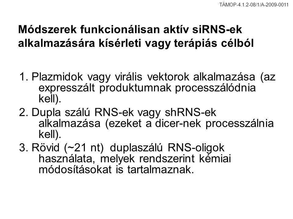 Módszerek funkcionálisan aktív siRNS-ek alkalmazására kísérleti vagy terápiás célból 1. Plazmidok vagy virális vektorok alkalmazása (az expresszált pr