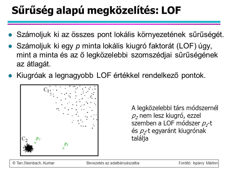 © Tan,Steinbach, Kumar Bevezetés az adatbányászatba Fordító: Ispány Márton Sűrűség alapú megközelítés: LOF l Számoljuk ki az összes pont lokális körny