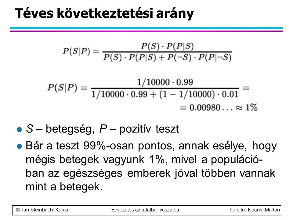 © Tan,Steinbach, Kumar Bevezetés az adatbányászatba Fordító: Ispány Márton Téves következtetési arány l S – betegség, P – pozitív teszt l Bár a teszt