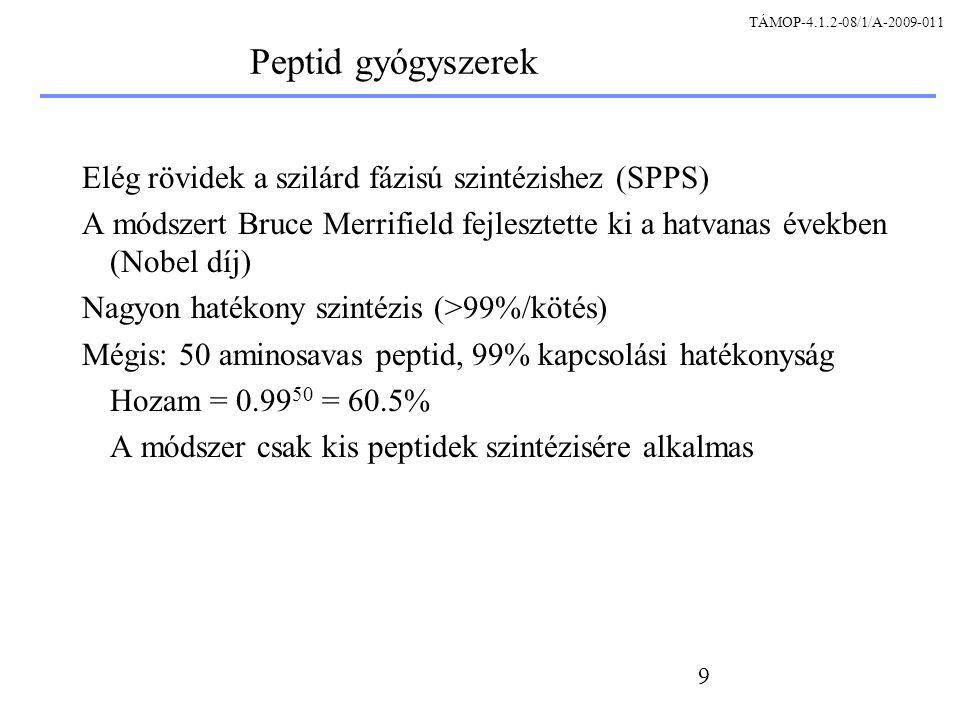 60 Hagyományos tisztítási stratégiák A tisztítási protokoll egyes lépései a protein más-más tulajdonságain alapulnak Több közbenső lépésre is szükség lehet Kis mennyiségek detektálhatósága szükséges Izolálás Közbenső lépések Végső finomítás TÁMOP-4.1.2-08/1/A-2009-011