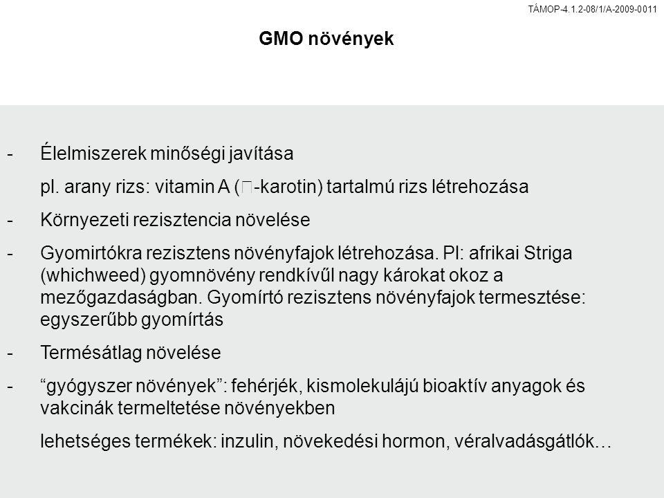 TÁMOP-4.1.2-08/1/A-2009-0011 GMO növények -Élelmiszerek minőségi javítása pl.