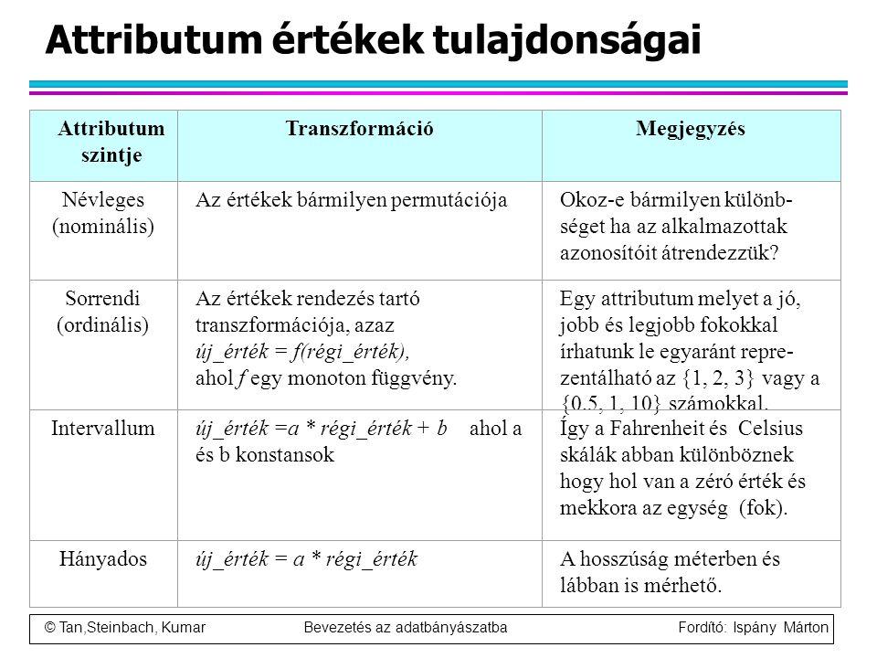© Tan,Steinbach, Kumar Bevezetés az adatbányászatba Fordító: Ispány Márton Attributum értékek tulajdonságai Attributum szintje TranszformációMegjegyzé