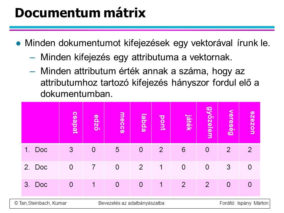 © Tan,Steinbach, Kumar Bevezetés az adatbányászatba Fordító: Ispány Márton Documentum mátrix l Minden dokumentumot kifejezések egy vektorával írunk le