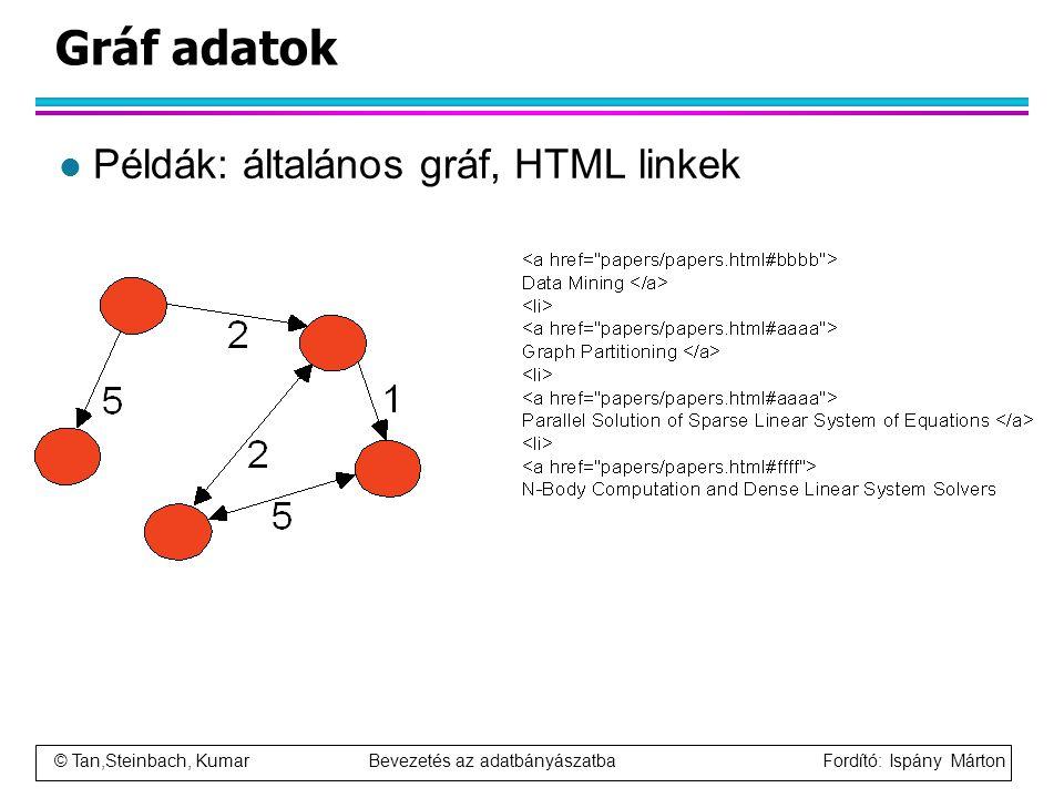 © Tan,Steinbach, Kumar Bevezetés az adatbányászatba Fordító: Ispány Márton Gráf adatok l Példák: általános gráf, HTML linkek