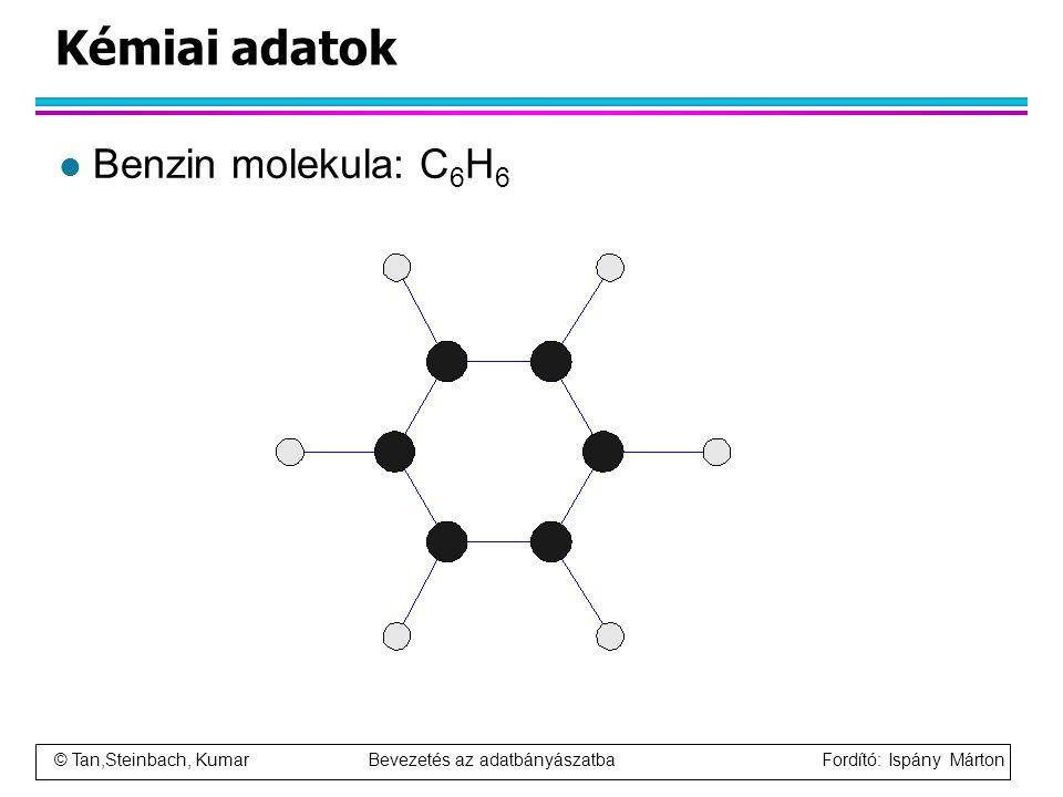 © Tan,Steinbach, Kumar Bevezetés az adatbányászatba Fordító: Ispány Márton Kémiai adatok l Benzin molekula: C 6 H 6
