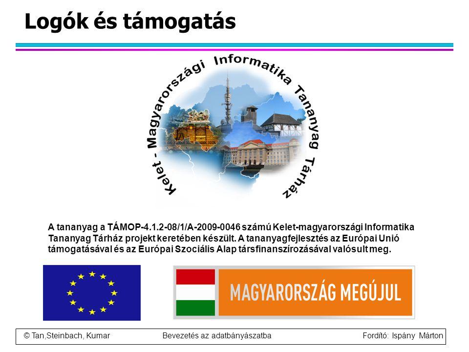 © Tan,Steinbach, Kumar Bevezetés az adatbányászatba Fordító: Ispány Márton Logók és támogatás A tananyag a TÁMOP-4.1.2-08/1/A-2009-0046 számú Kelet-ma