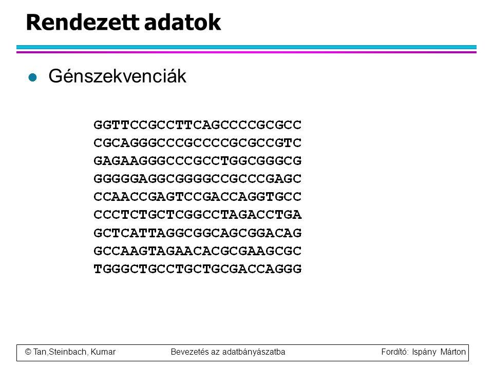 © Tan,Steinbach, Kumar Bevezetés az adatbányászatba Fordító: Ispány Márton Rendezett adatok l Génszekvenciák