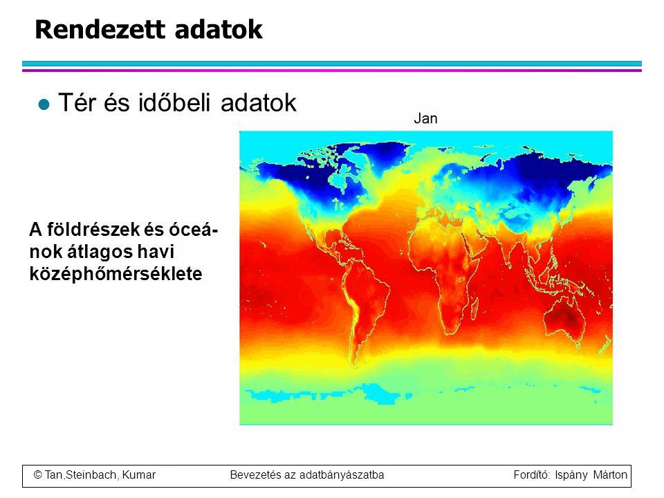 © Tan,Steinbach, Kumar Bevezetés az adatbányászatba Fordító: Ispány Márton Rendezett adatok l Tér és időbeli adatok A földrészek és óceá- nok átlagos