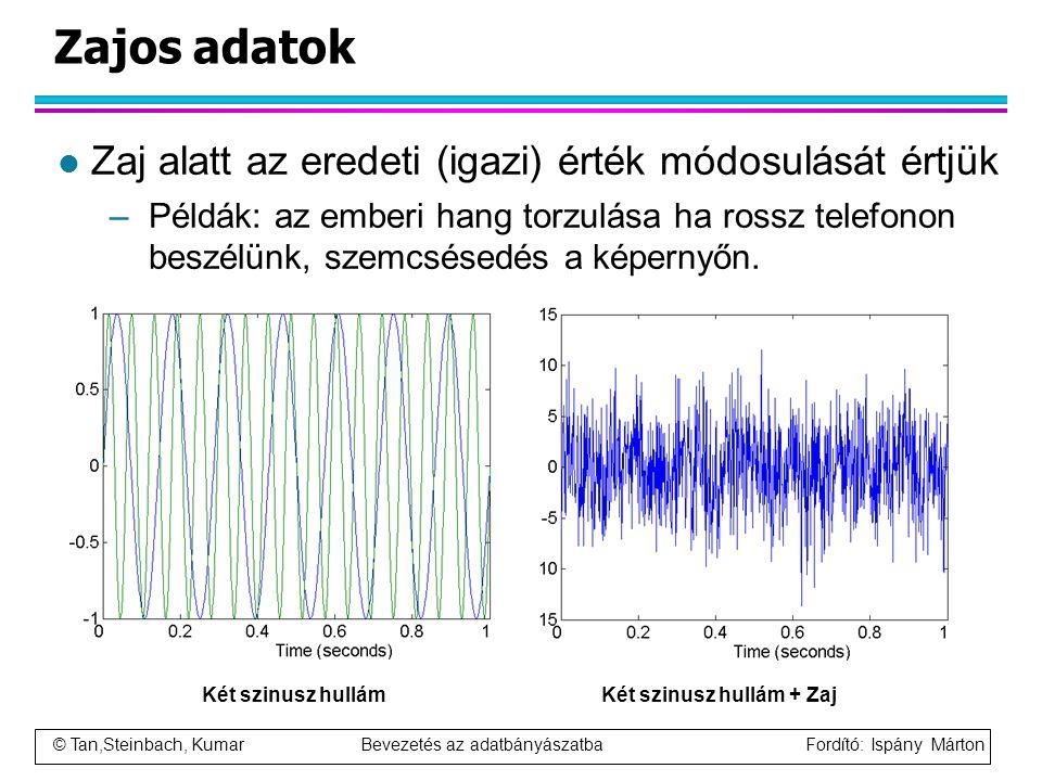 © Tan,Steinbach, Kumar Bevezetés az adatbányászatba Fordító: Ispány Márton Zajos adatok l Zaj alatt az eredeti (igazi) érték módosulását értjük –Példá