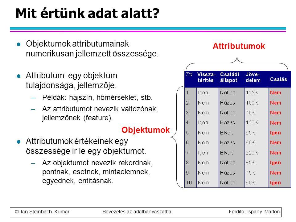 © Tan,Steinbach, Kumar Bevezetés az adatbányászatba Fordító: Ispány Márton Mit értünk adat alatt? l Objektumok attributumainak numerikusan jellemzett