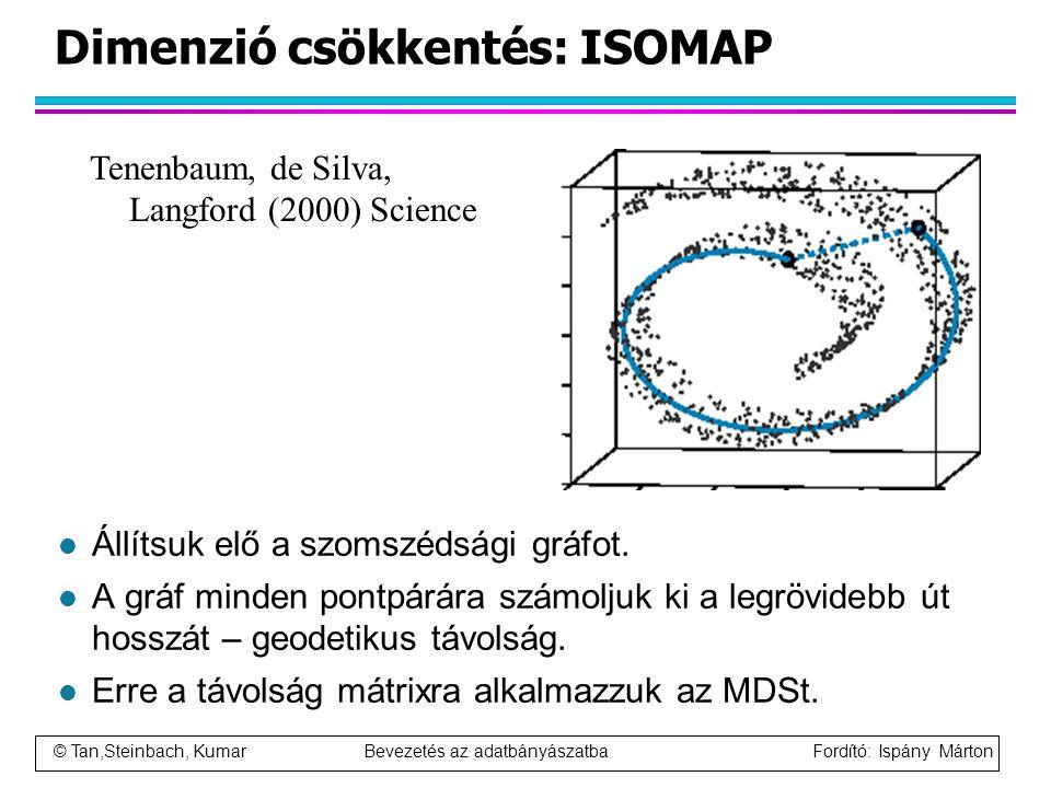 © Tan,Steinbach, Kumar Bevezetés az adatbányászatba Fordító: Ispány Márton Dimenzió csökkentés: ISOMAP l Állítsuk elő a szomszédsági gráfot. l A gráf
