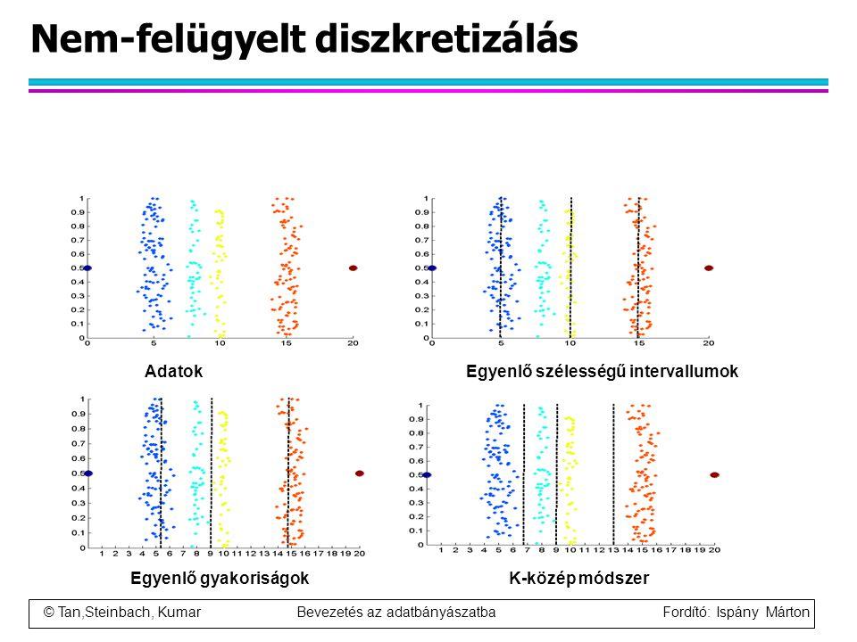 © Tan,Steinbach, Kumar Bevezetés az adatbányászatba Fordító: Ispány Márton Nem-felügyelt diszkretizálás AdatokEgyenlő szélességű intervallumok Egyenlő