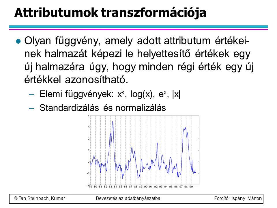 © Tan,Steinbach, Kumar Bevezetés az adatbányászatba Fordító: Ispány Márton Attributumok transzformációja l Olyan függvény, amely adott attributum érté