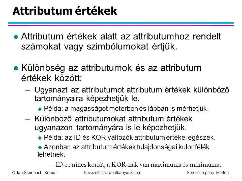 © Tan,Steinbach, Kumar Bevezetés az adatbányászatba Fordító: Ispány Márton Attributum értékek l Attributum értékek alatt az attributumhoz rendelt szám