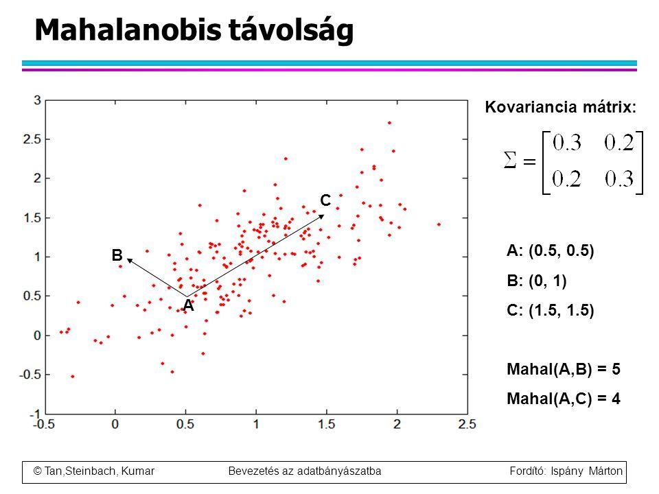 © Tan,Steinbach, Kumar Bevezetés az adatbányászatba Fordító: Ispány Márton Mahalanobis távolság Kovariancia mátrix: B A C A: (0.5, 0.5) B: (0, 1) C: (