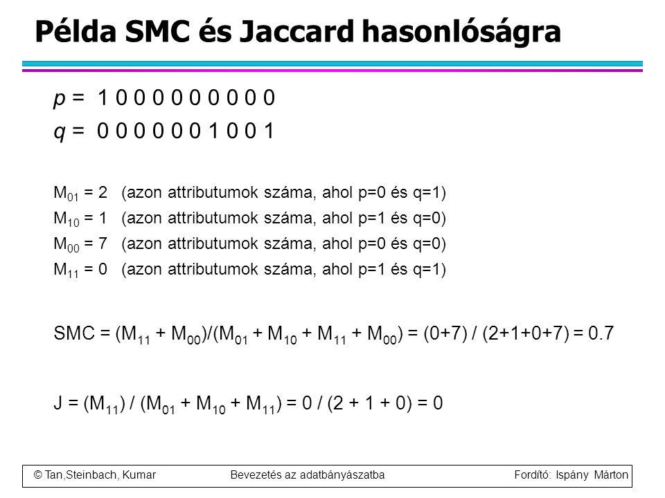 © Tan,Steinbach, Kumar Bevezetés az adatbányászatba Fordító: Ispány Márton Példa SMC és Jaccard hasonlóságra p = 1 0 0 0 0 0 0 0 0 0 q = 0 0 0 0 0 0 1