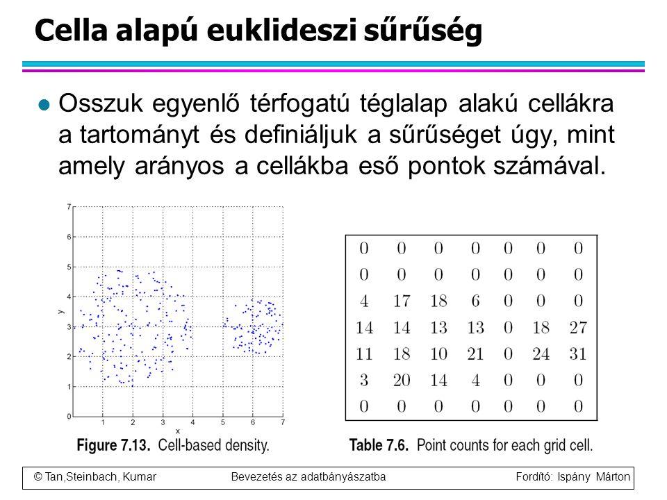 © Tan,Steinbach, Kumar Bevezetés az adatbányászatba Fordító: Ispány Márton Cella alapú euklideszi sűrűség l Osszuk egyenlő térfogatú téglalap alakú ce