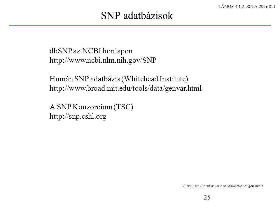 25 SNP adatbázisok dbSNP az NCBI honlapon http://www.ncbi.nlm.nih.gov/SNP Humán SNP adatbázis (Whitehead Institute) http://www.broad.mit.edu/tools/data/genvar.html A SNP Konzorcium (TSC) http://snp.cshl.org J Pevsner: Bioinformatics and functional genomics TÁMOP-4.1.2-08/1/A-2009-011