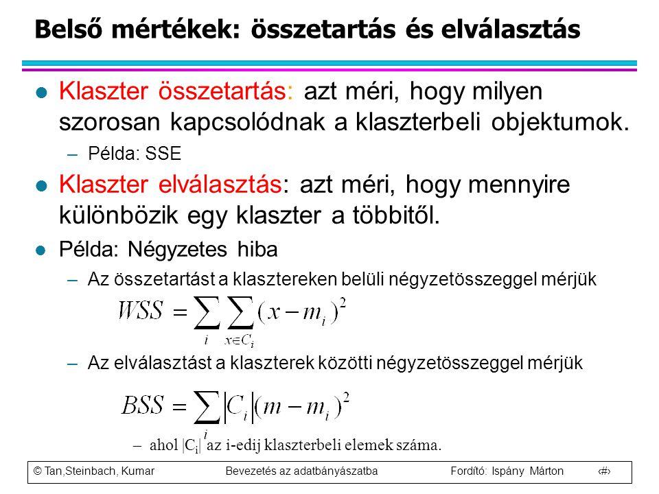 © Tan,Steinbach, Kumar Bevezetés az adatbányászatba Fordító: Ispány Márton 100 l Klaszter összetartás: azt méri, hogy milyen szorosan kapcsolódnak a k