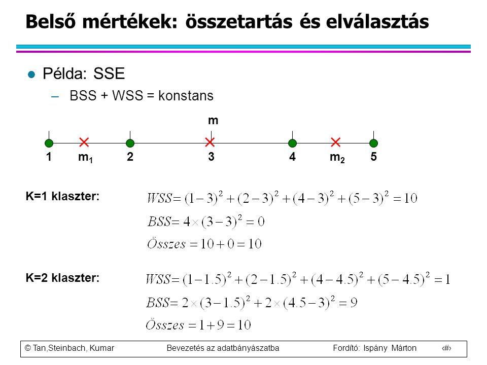 © Tan,Steinbach, Kumar Bevezetés az adatbányászatba Fordító: Ispány Márton 101 Belső mértékek: összetartás és elválasztás l Példa: SSE –BSS + WSS = ko