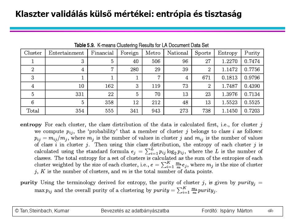 © Tan,Steinbach, Kumar Bevezetés az adatbányászatba Fordító: Ispány Márton 104 Klaszter validálás külső mértékei: entrópia és tisztaság