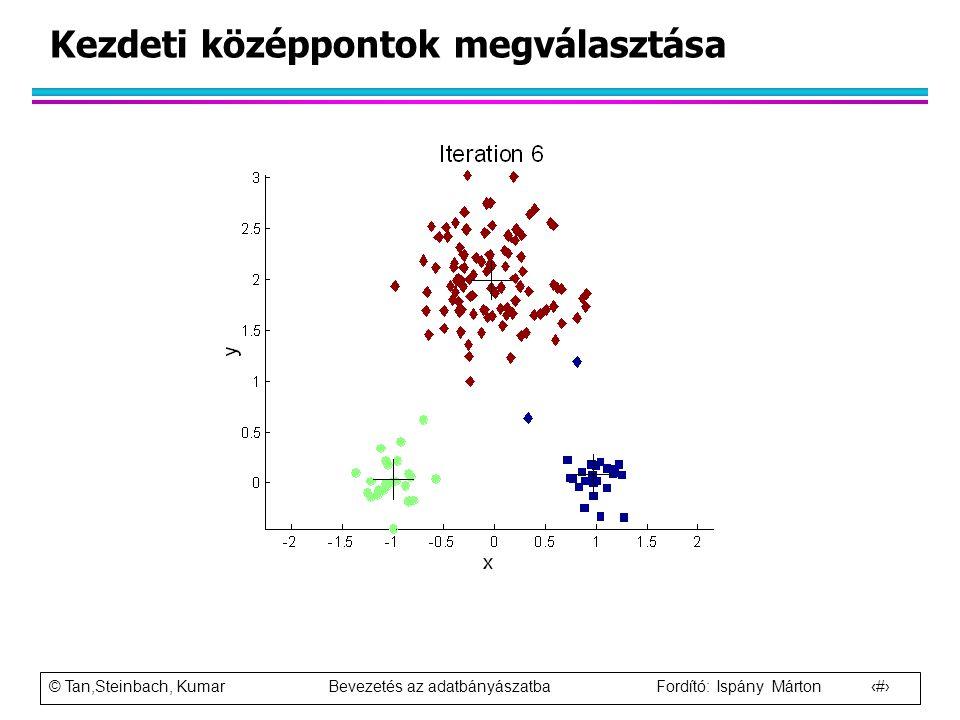 © Tan,Steinbach, Kumar Bevezetés az adatbányászatba Fordító: Ispány Márton 24 Kezdeti középpontok megválasztása