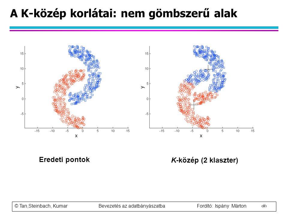 © Tan,Steinbach, Kumar Bevezetés az adatbányászatba Fordító: Ispány Márton 43 A K-közép korlátai: nem gömbszerű alak Eredeti pontok K-közép (2 klaszte